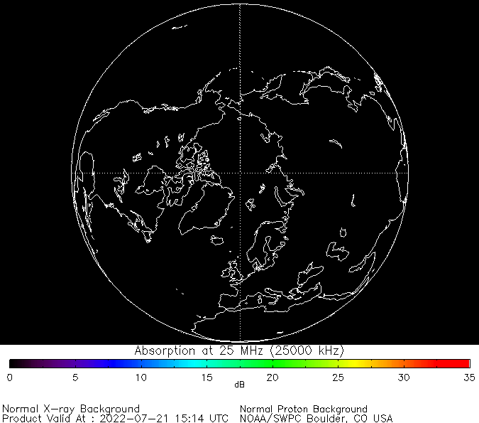 thumbnail of North polar global absorption predictions at 25 MHz