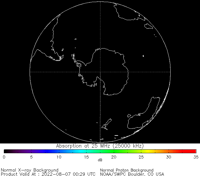 thumbnail of South polar global absorption predictions at 25 MHz