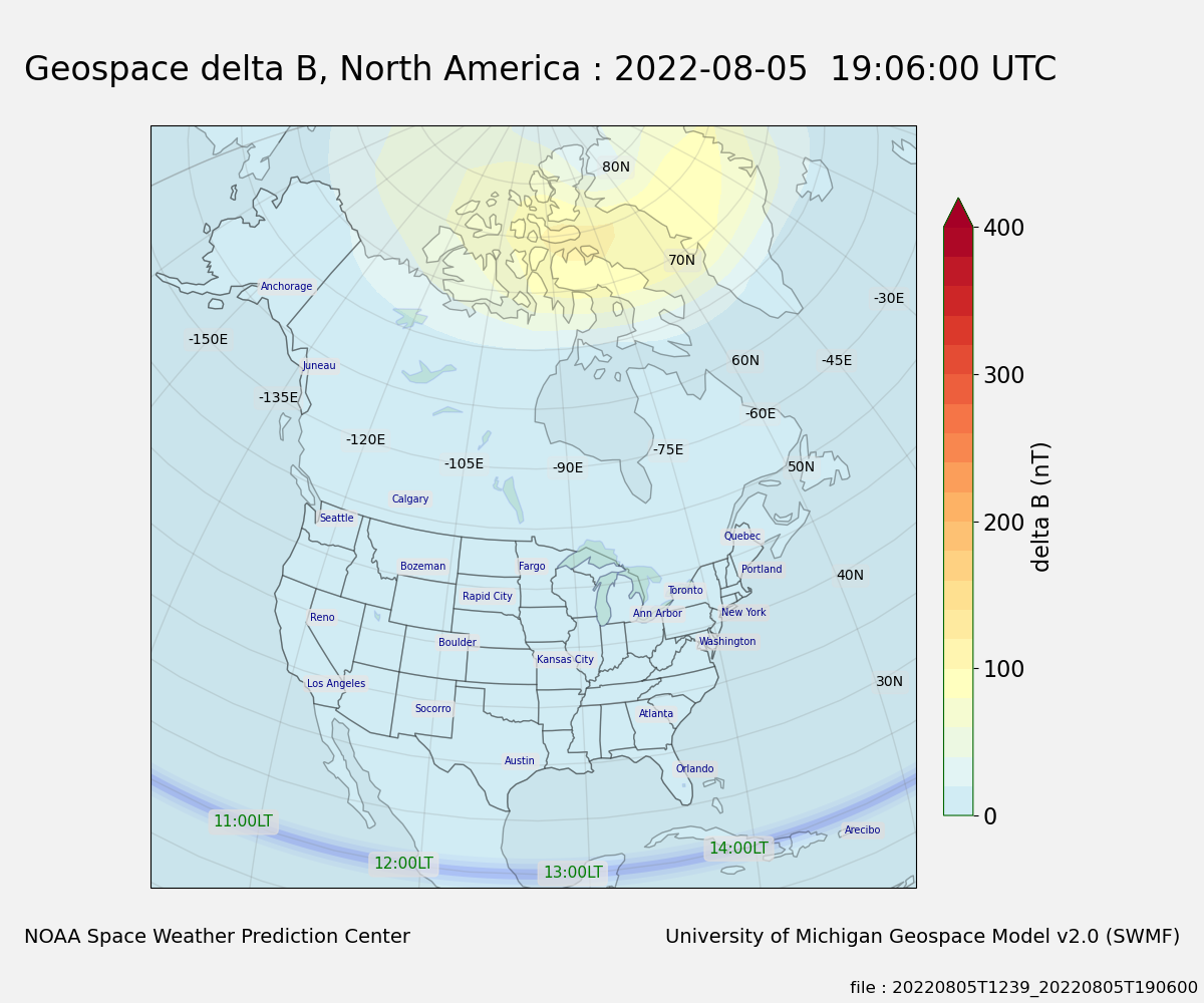 The Geospace model magnetic delta B (nT) data on a global 5 x 5 degree grid mapped as a color contour plot over North America