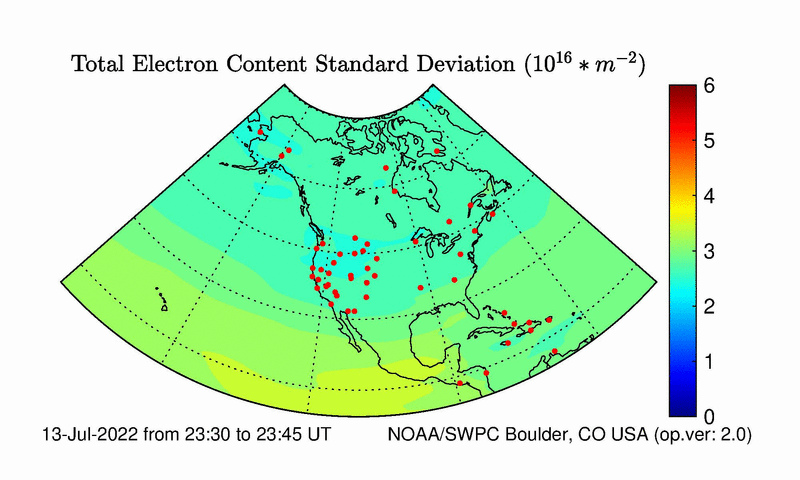 North American Total Electron Content Error Image