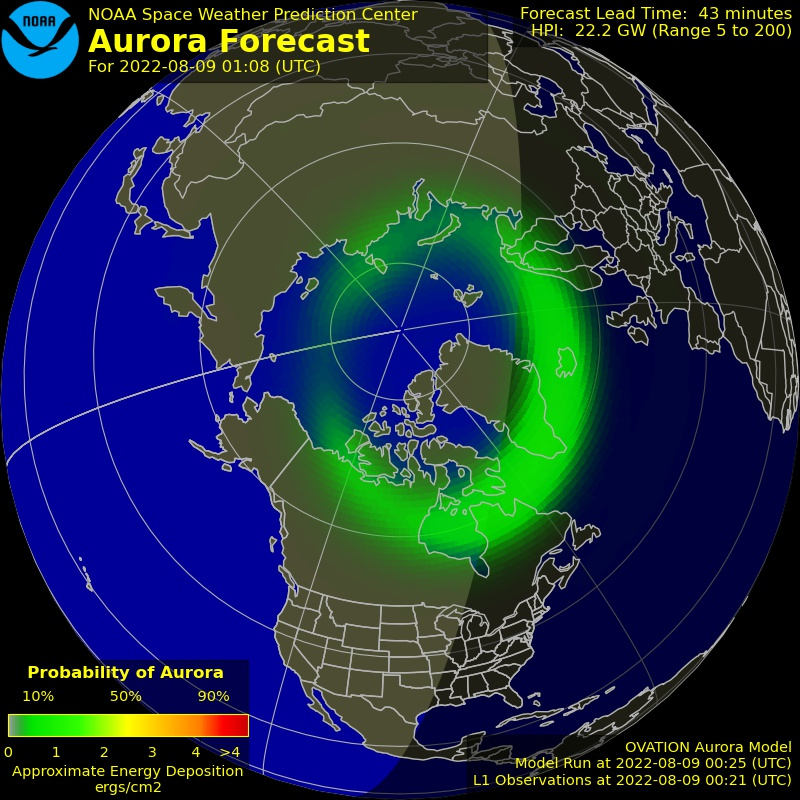 Ovation auroral prediction for the northern hemisphere