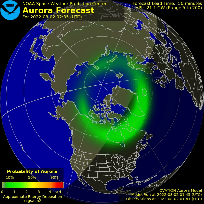 The latest Ovation aurora prediction plot and animation