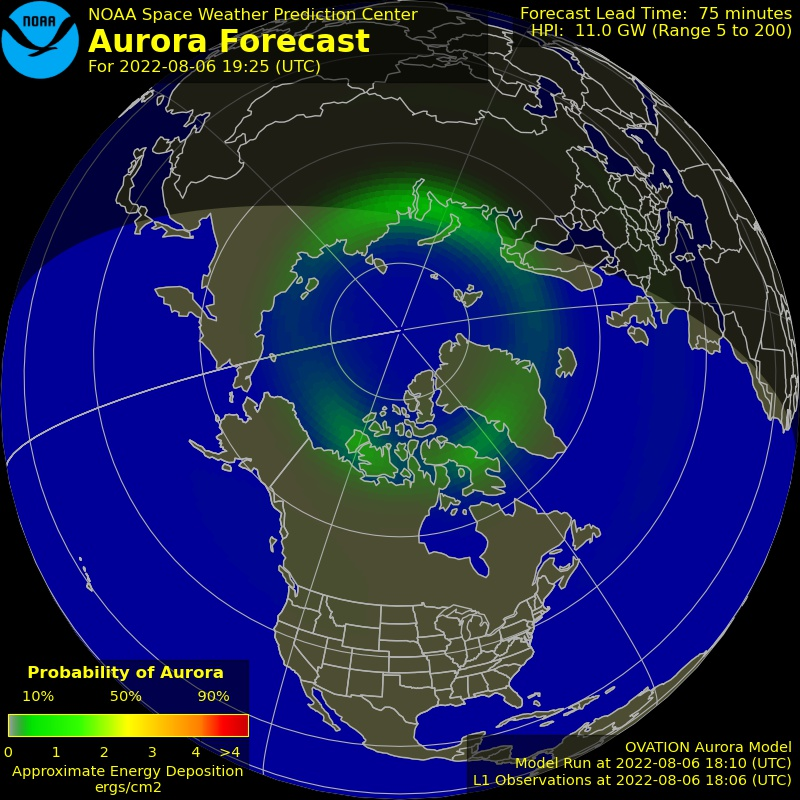 Current Northern hemispheric power input map - click for animated view