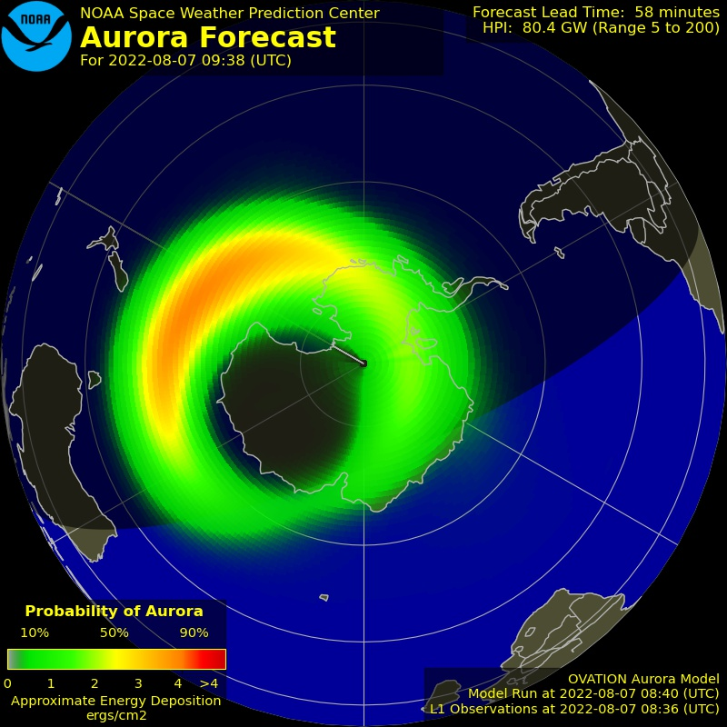 Aurora Oval sobre la South Polar Region