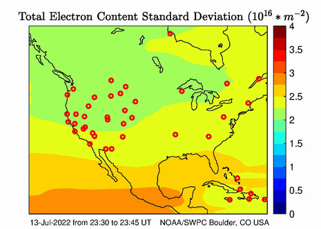 North American (US Region) Total Electron Content Error Image
