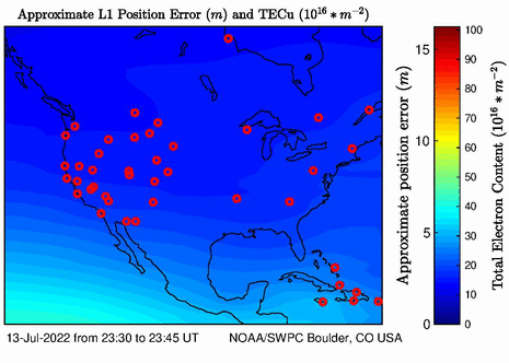 The latest U.S. total electron content plot and animation