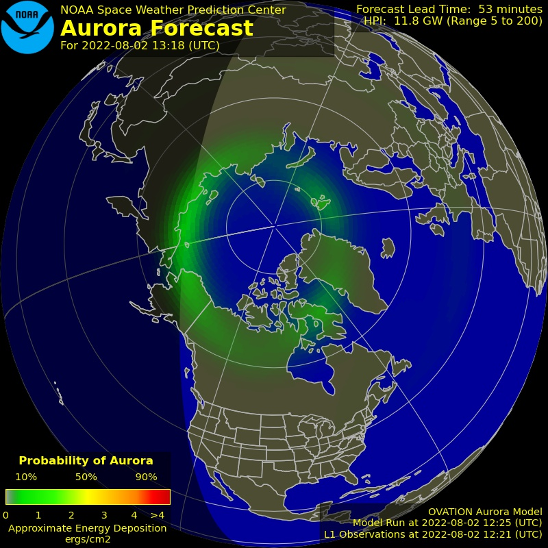 Northern Lights forecast in real-time