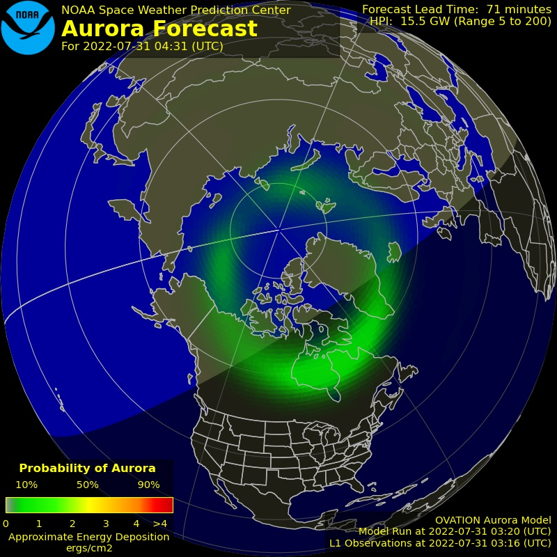 U.S. NOAA OVATION aurora forecast.