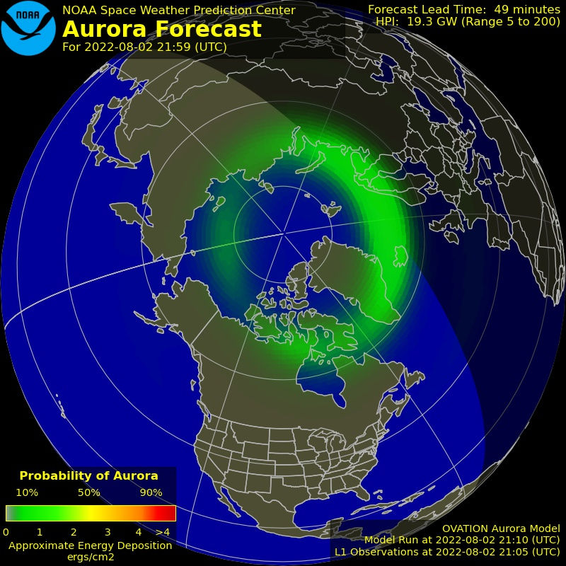 What are the odds that I can see overhead aurora from my location?