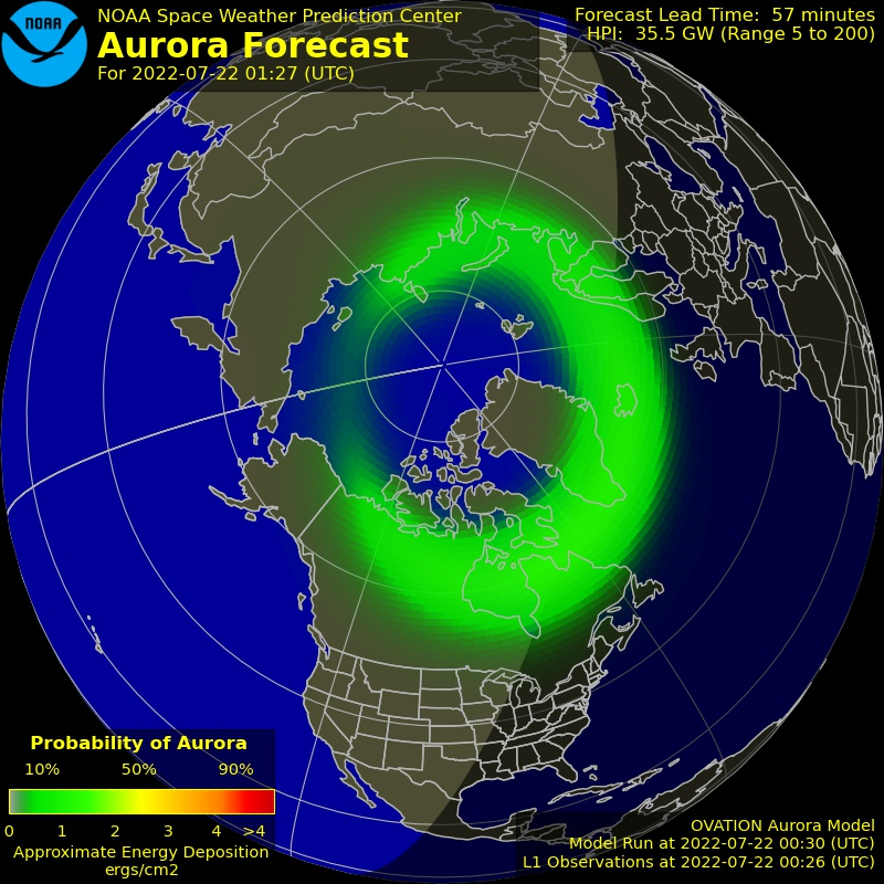 Current Northern hemispheric power input map
