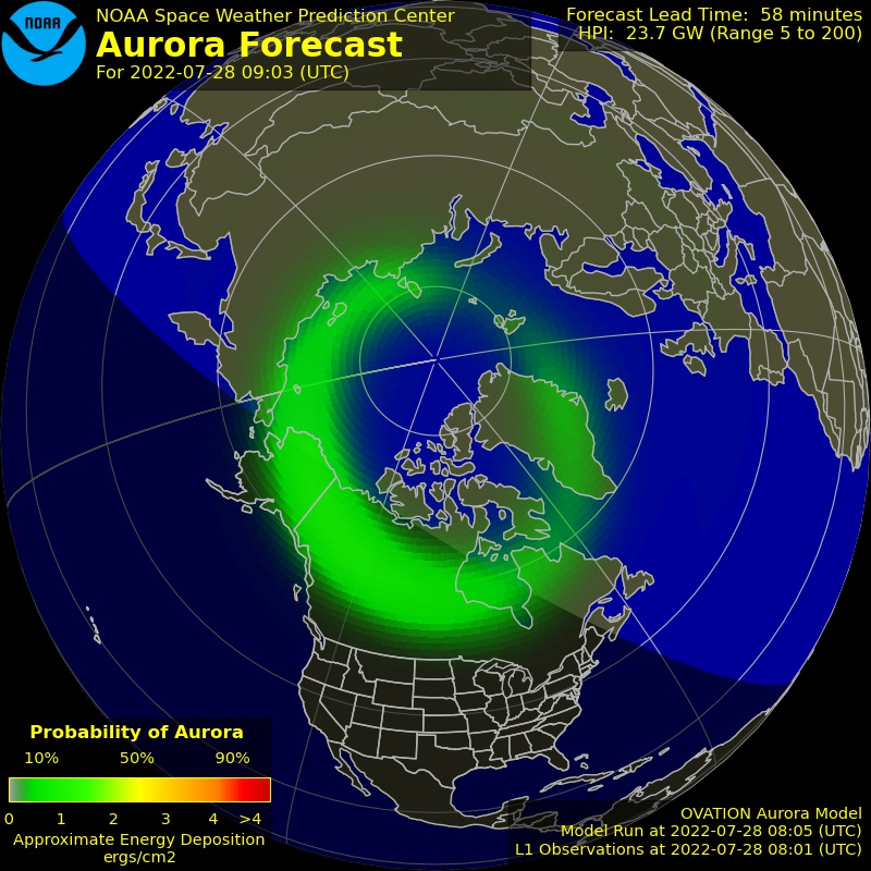 Latest Aurora Activity for the Northern Hemisphere