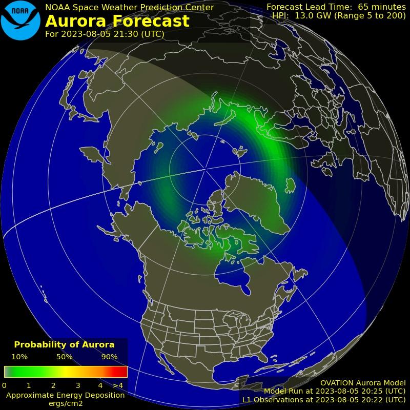 Carte des aurores boréales au pôle Nord