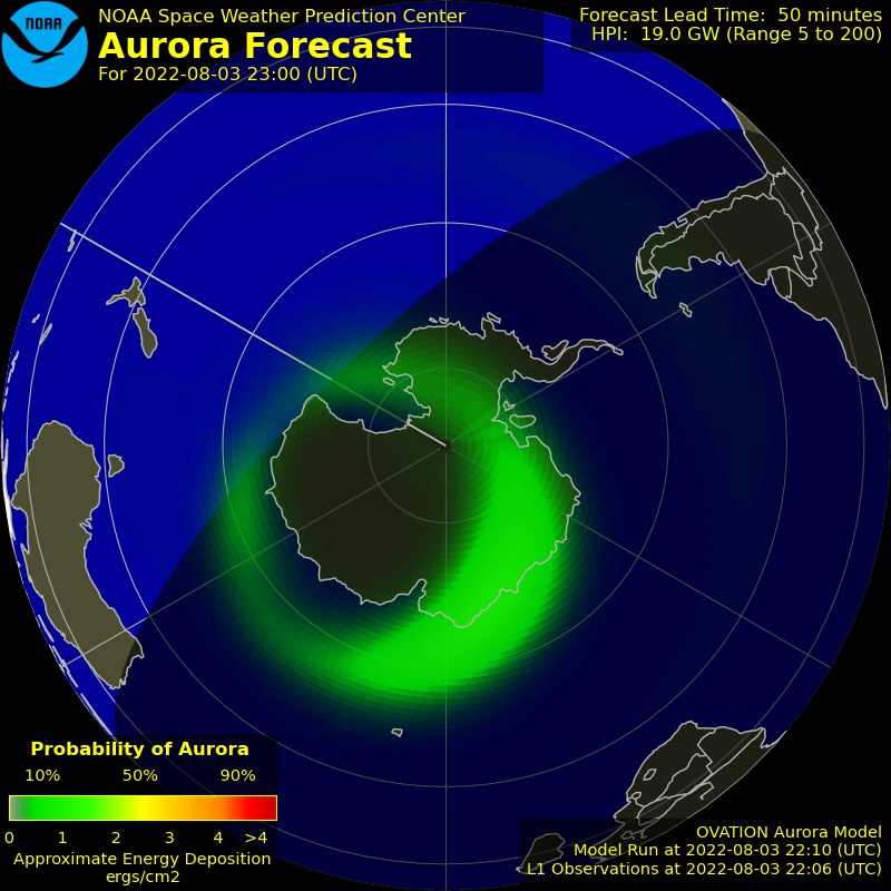 Current South Pole Auroral Oval: