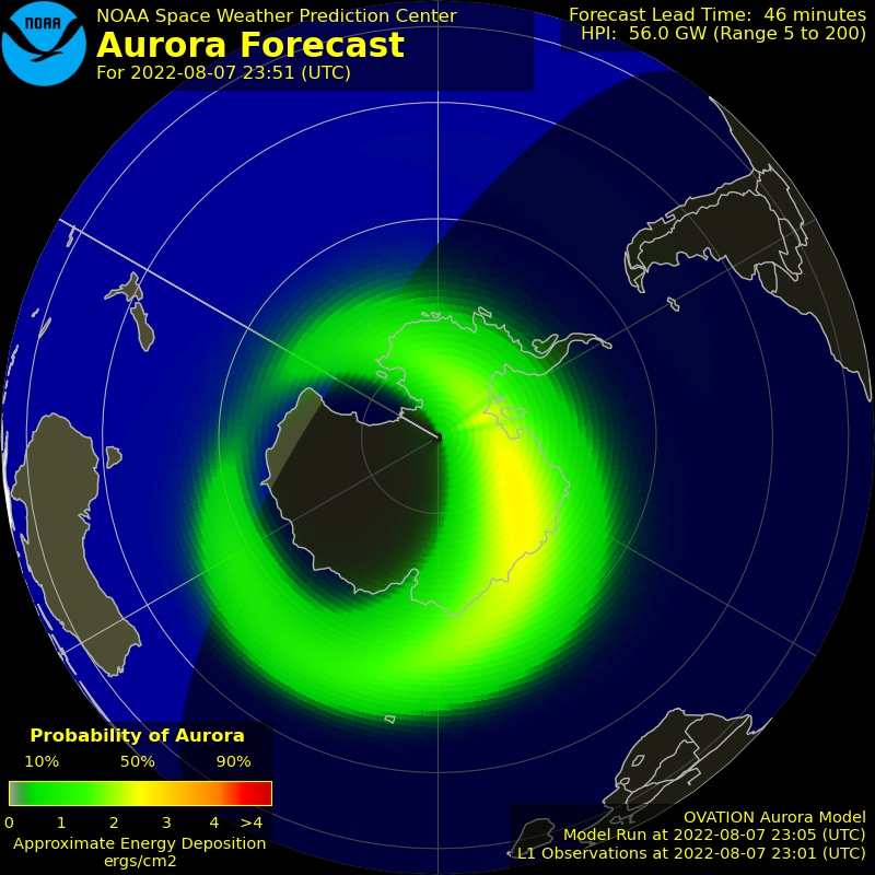 Geomagnetic Field over the South Pole