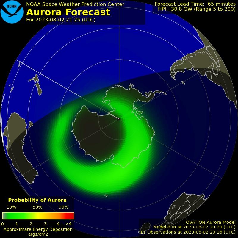 Carte des aurores boréales au pôle Sud