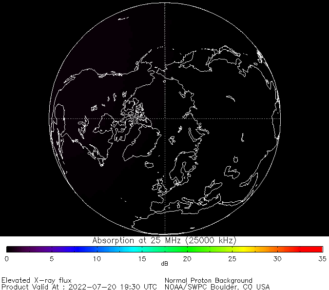 thumbnail of North polar global absorption predictions at 25 MHz